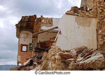 The rubble of the earthquake in Abruzzo (Italy) - A view of...