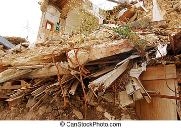 The rubble of the earthquake in Abruzzo (Italy) - A view of ...