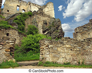 the ruined castle fortress in Durnstein