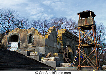 the ruins of an old building, and an observation tower on the Potemkin stairs in Odessa Ukraine