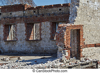 The ruins of an old building .
