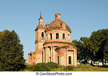 the ruins of an old church