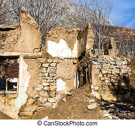 The ruins of an old house in nature