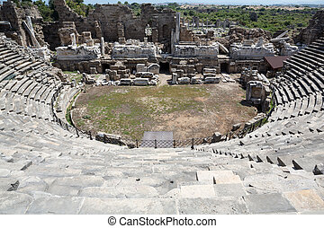 The ruins of ancient Roman amphitheatre in Side. Turkey