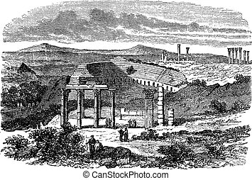 The ruins of Gerasa in Jordan vintage engraving