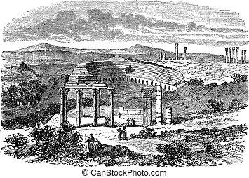 The ruins of Gerasa in Jordan vintage engraving