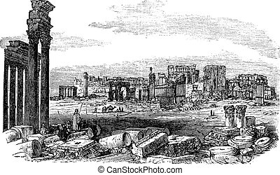 The ruins of Palmyra in Syria vintage engraving - The ruins...