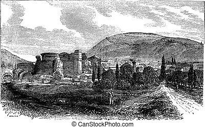 The ruins of Pergamon or Pergamum in Turkey vintage engraving