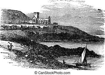 The ruins of St Mary's Abbey in Iona Scotland vintage engraving