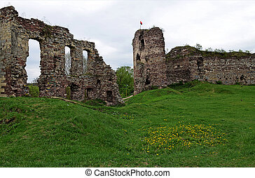 The ruins of the ancient castle are in the field, where growing spring grass and spring flowers against dark blue sky