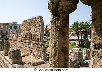 The ruins of the ancient greek doric temple of Apollo