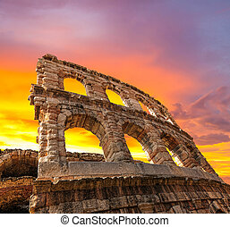 The ruins of the ancient Roman arena in Verona at sunset. (XXL size)