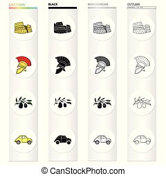 The ruins of the Colosseum, a Roman helmet, a branch of olives, an Italian car. Italy country set collection icons in cartoon black monochrome outline style vector symbol stock illustration web.