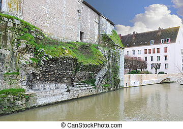 The ruins of the old bridge in Chartres. France