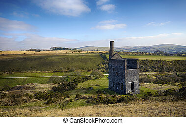 The ruins of Wheal Betsy Engine House in Devon - The ruins...