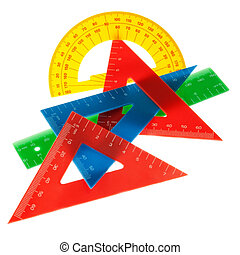 The ruler, triangle, protractor for the school. On a white background.
