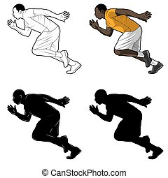 The runner picture is a set consisting of color images, line art, silhouette.