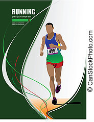 The running man. Track and field. Raterized copy. Vector...