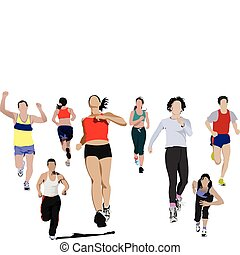 The running people. Vector illustration