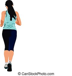The running people. Vector illustr