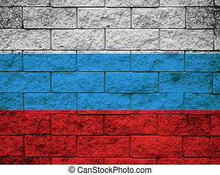 The Russian flag painted on wall