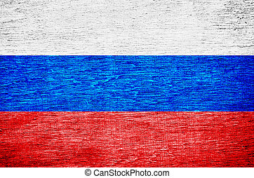 The Russian flag painted on wooden surface.