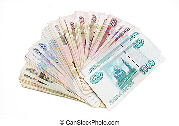 The Russian roubles are isolated on a white background