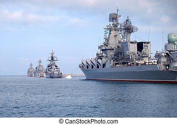 The Russian war-ships are in the bay of Sevastopol.