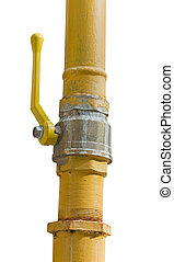 the Rusted valve - metal pipe with valve on white background