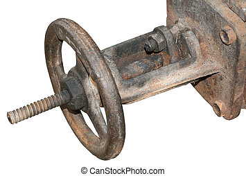 the Rusted valve - old metal pipe on a white background