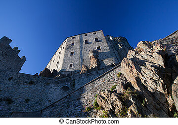 Sacra di san michele. Middle ages abbey in torino ruins... stock ...