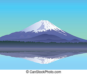the sacred mountain of Fuji in the background of blue sky