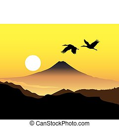 the sacred mountain of Fujiyama with two cranes