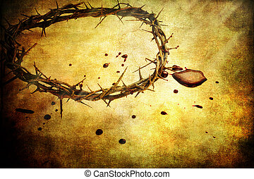 The Sacrifice - Crown of thorns with blood over textured...