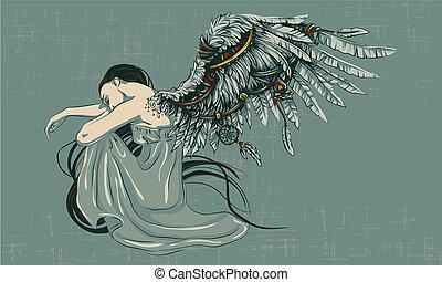the sad angel folded his wings