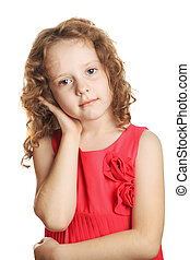 The sad girl holds ear isolated in white background.