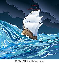 The sail ship - Illustration with sail ship drifting in...