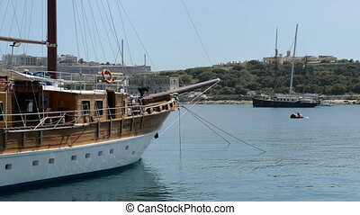 The sail yacht is in harbour, Sliema, Malta
