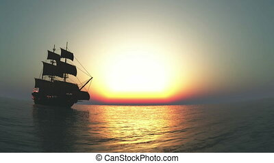 The sailing boat which goes on a voyage