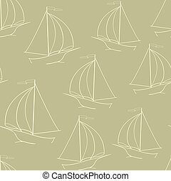 The sailing yacht. Yellow background