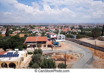 The Saint Efstathios street as seen from the top of Kolossi Castle keep tower. Kolossi. Cyprus
