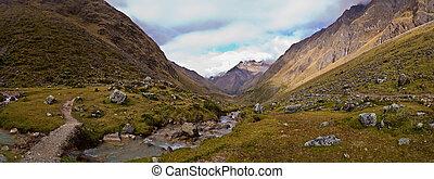 The Salcantay trail in Peru panorama shot