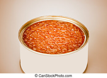 the salmon red caviar, isolated