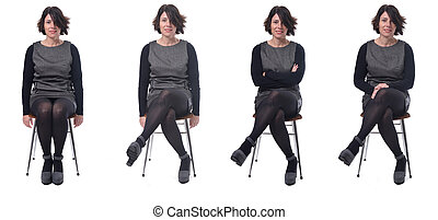 the same elegance woman sitting in various ways on white background