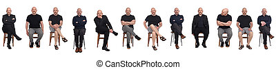 the same man in different outfits on white background, sitting on chair