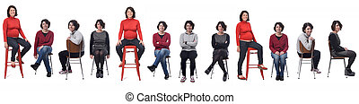 the same woman in different outfits and pregnant sitting in a chair on white background
