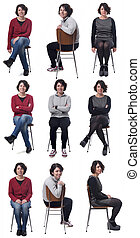 the same woman in different outfits sitting in a chair on white background