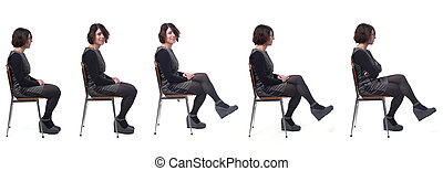 the same woman sitting in various ways ,side view, on white background