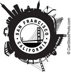 The San Francisco Skyline circular Seal symbol silhouette