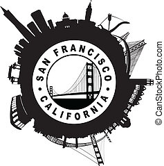 The San Francisco Skyline circular Seal symbol silhouette